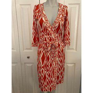 Diane Von Furstenberg Red&White Banded Julian Wrap Dress